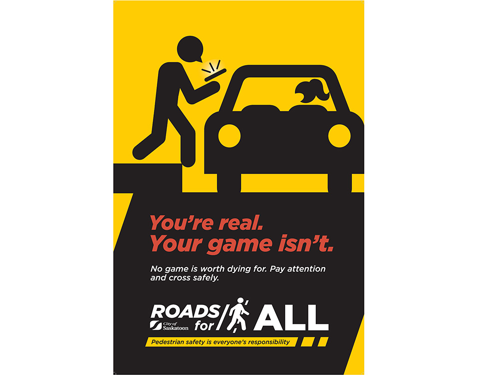 Put the game away. Always pay attention and cross the street safely.