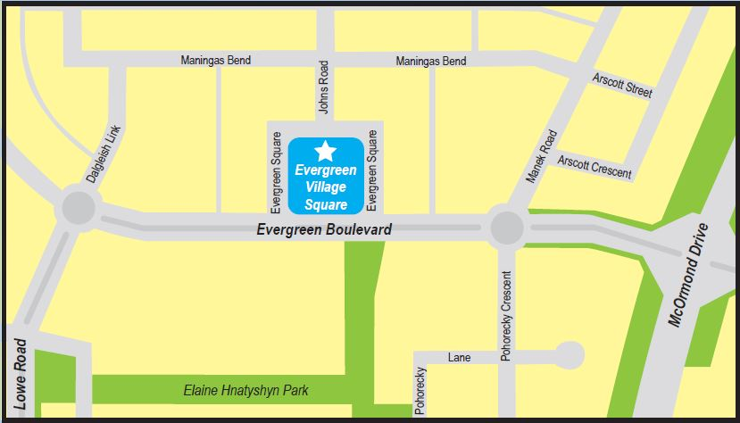 Map to Evergreen Village Square