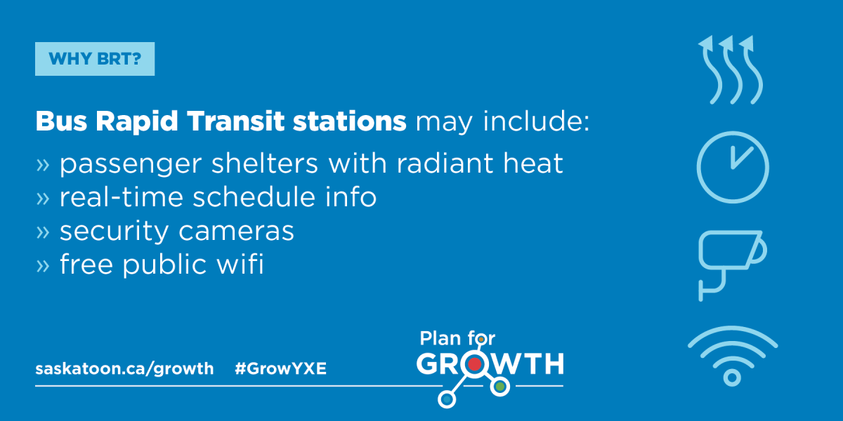 BRT Fact Card #7 - Bus Rapid Transit stations may include: passenger shelters  with radient heat, real-time schedule info, security cameras, free public wifi