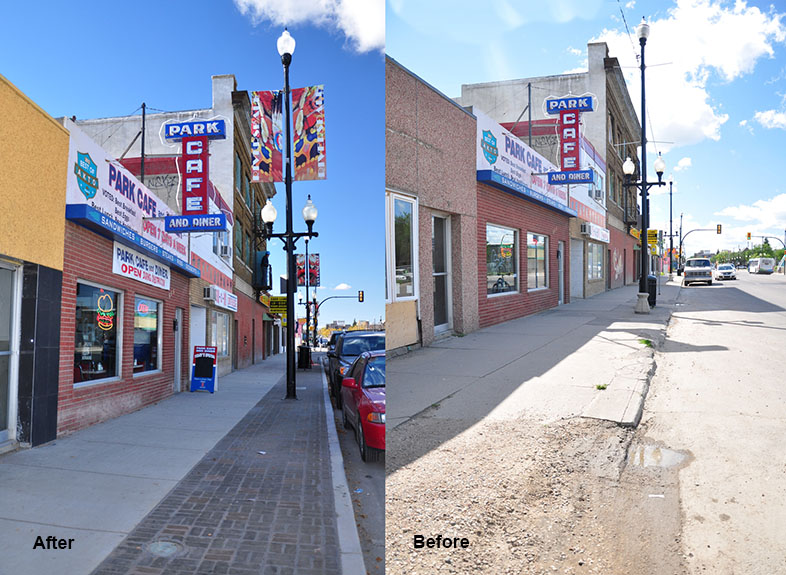 a before and after shot of the south side of the 500 block of 20th St West