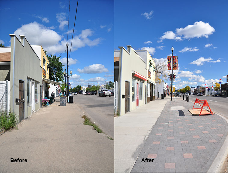 a before and after shot of the north side of the 500 block of 20th St West