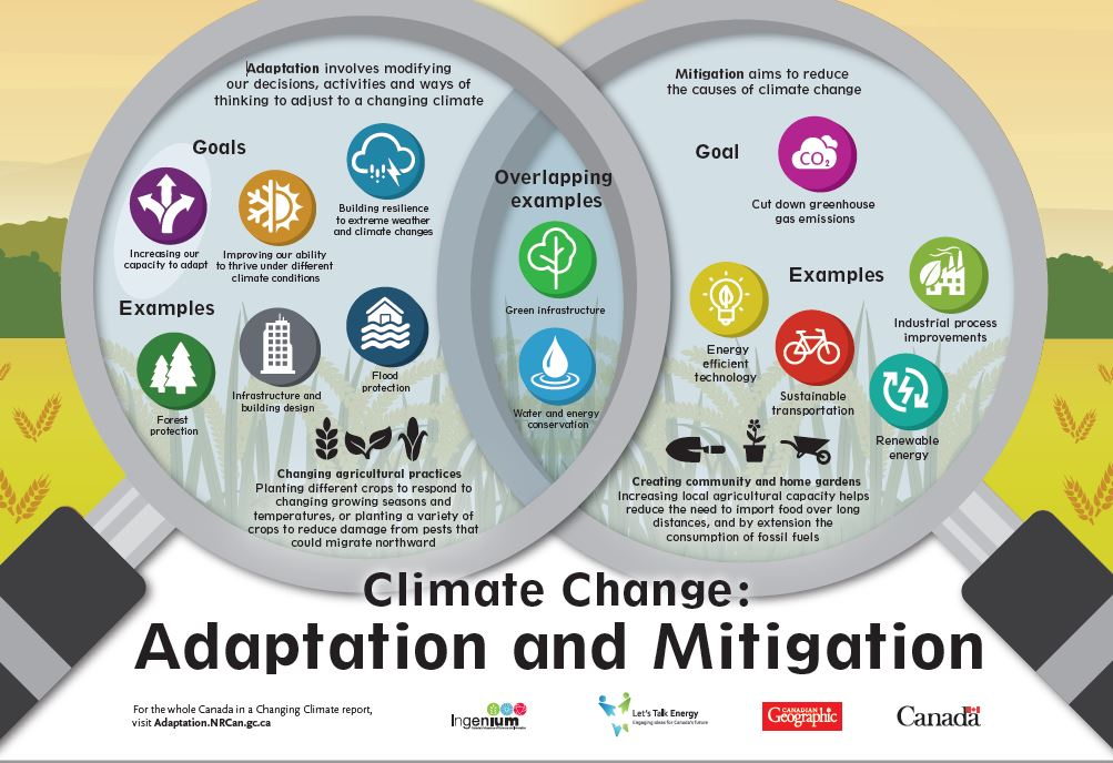 Mini venn diagram connecting the concepts of climate change adaptation and mitigation.