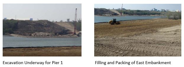 Excavation Underway for Pier 1 and Filling and Packing of East Embankment