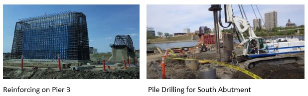 Reinforcing on Pier 3 and Pile Drilling for South Abutment