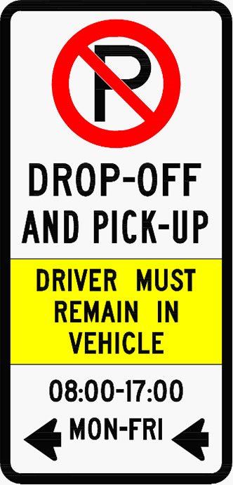Drop off Pick up zone sign