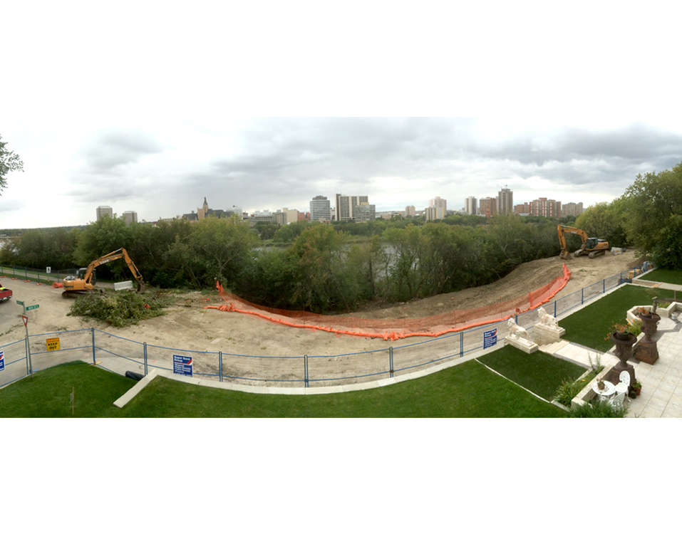 Sask. Cr. & 16th St. Slope Remediation panoramic – August 23, 2016