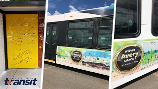 Student art on transit buses and bus shelters