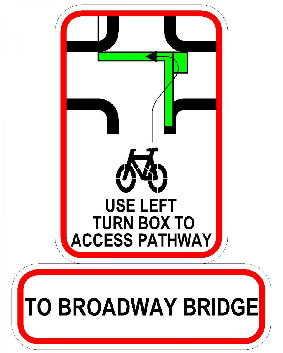 Left Turn bike box to access shared pathway to Broadway Bridge