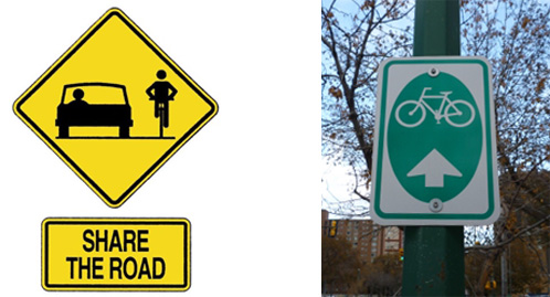 Signs for cycling