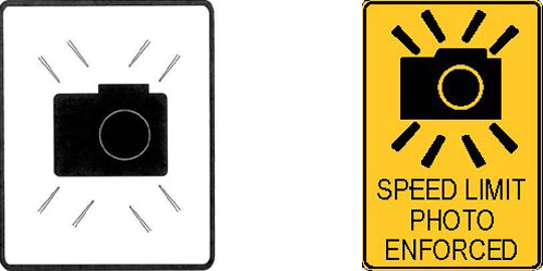 Photo speed enforcement signs
