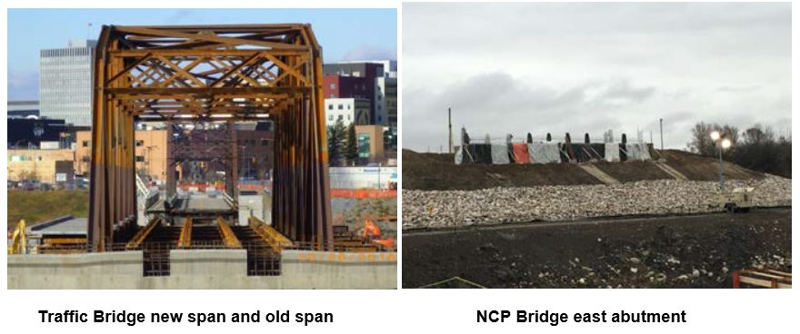 Traffic Bridge New Span and Old Span and NCP Bridge East Abutment
