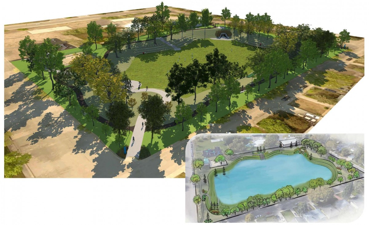 WW Ashley District Park dry pond overview rendering