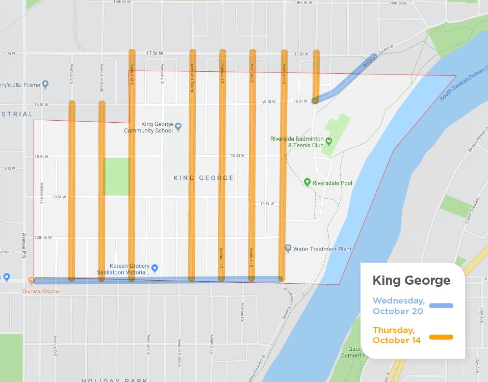 King George fall street sweeping schedule