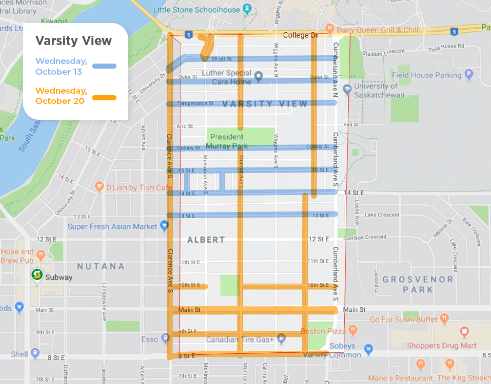 Varsity View fall street sweeping schedule
