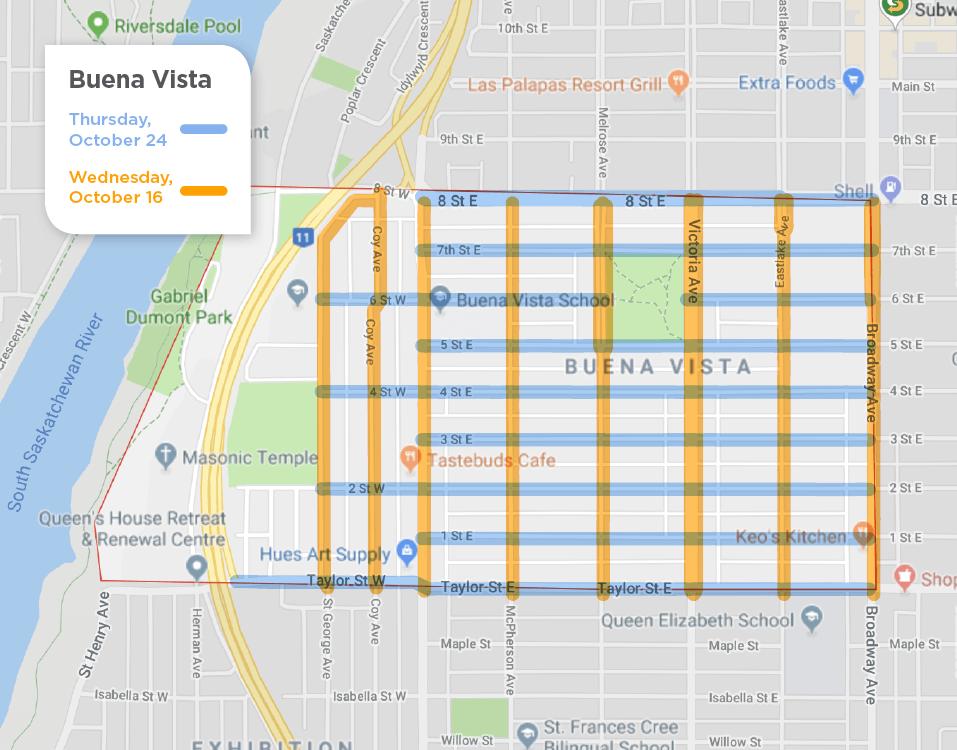 Buena Vista fall street sweeping schedule